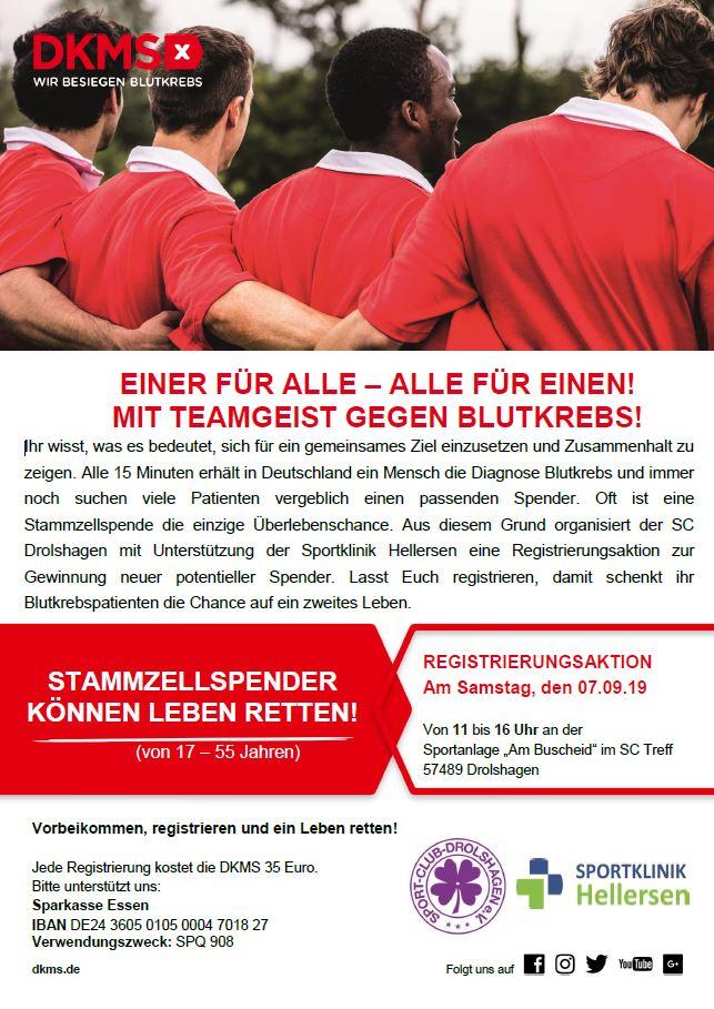 Einer für Alle – Alle für Einen! Mit Teamgeist gegen Blutkrebs!