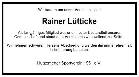 Nachruf Rainer Lütticke