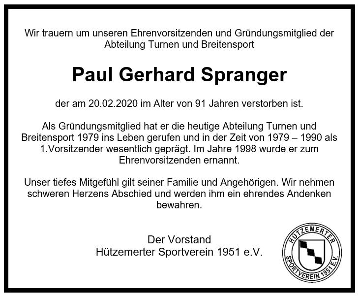 NACHRUF – Paul Gerhard Spranger
