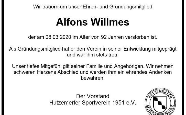 Nachruf Alfons Willmes