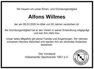 NACHRUF – Alfons Willmes